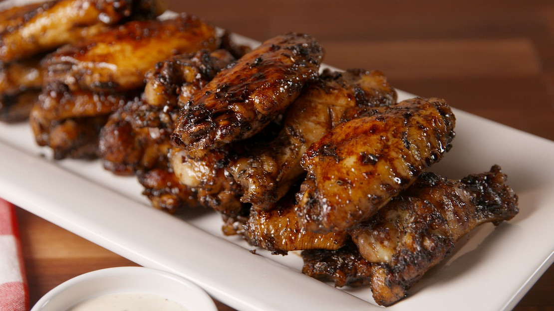 Smoky Honey Bourbon Balsamic Glazed Wings