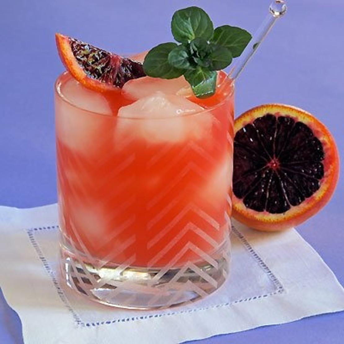 Blood Orange Bourbon Balsamic Cocktail with Basil
