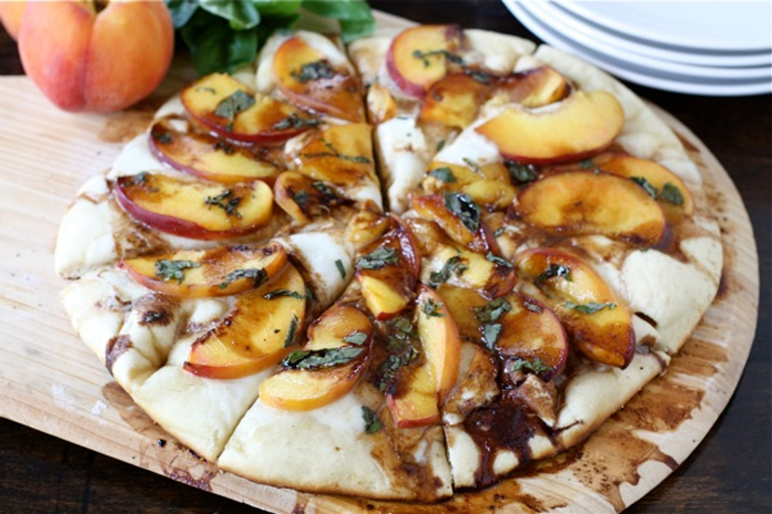 Peach, Basil, Mozzarella & Balsamic Pizza