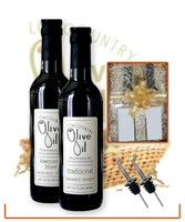 traditional balsamic and lowcountry blend basket with 2 spouts https://www.lowcountryoliveoil.com/classic-gift-basket/