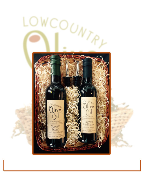Italian Oil & Vinegar Gift Basket with 2 spouts