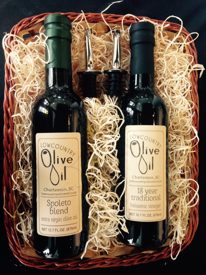 Italian Oil & Vinegar Gift Basket with 2 spouts
