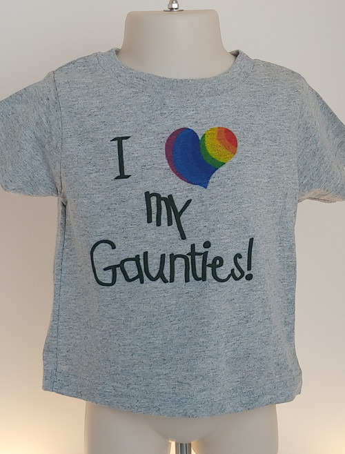 Whether you're headed to the PRIDE parade or just out for ice cream, this I Heart My Gaunties tShirt is the PERFECT for the gay aunts in your life!