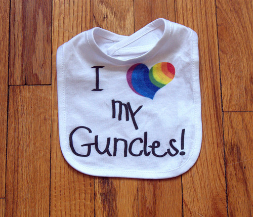 Clever gift idea for a birth announcement! Let your brothers know that you're expecting with this smart Guncles bib.