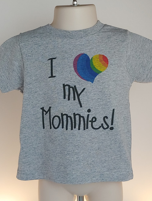 This I Heart My Mommies tShirt is an AWESOME gift for 2 moms for Mother's Day or for PRIDE!