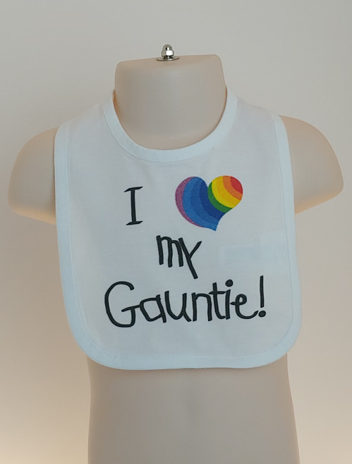 Show your PRIDE EVERY day with this cute bib from your gay Aunt!