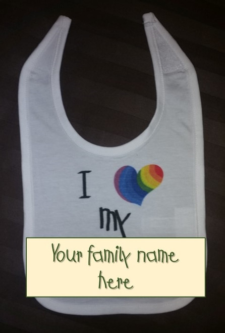 Just add your favorite name to customize this bib for your family!