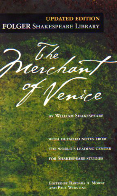 The Merchant of Venice by William Shakespeare, play, script, book, novel. FOLGER Shakespeare Library, Simon and Schuster.