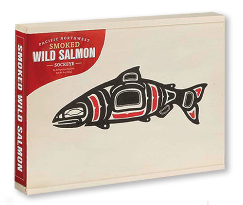 Smoked Wild Sockeye Salmon in Totem Design Wooden Gift Box made in Anacortes, Washington