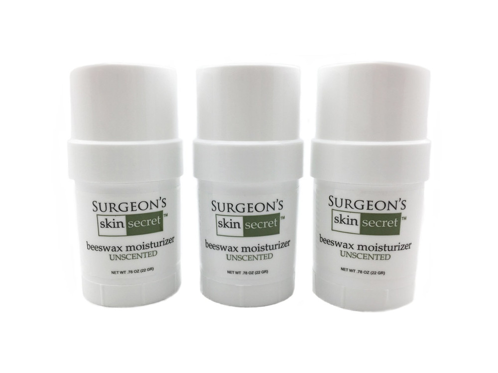 Surgeon's Skin Secret™ Beeswax Moisturizer  .78oz. Twist-up Stick (3 Pack) - Unscented