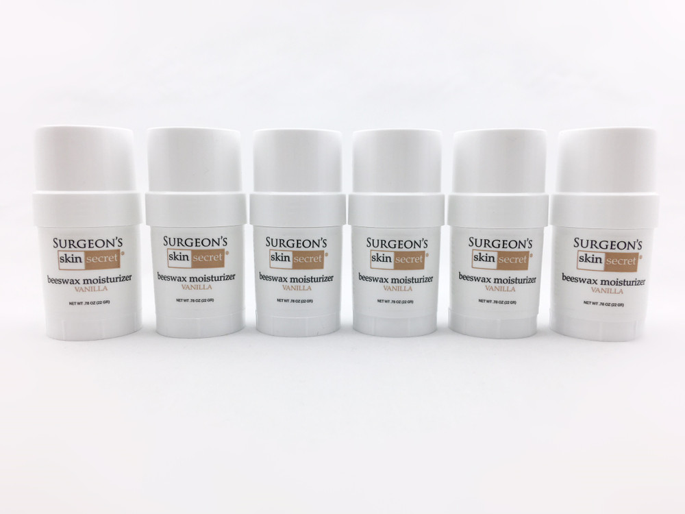 Surgeon's Skin Secret™ Beeswax Moisturizer .78 oz Twist-up Stick (6 Pack) - Vanilla