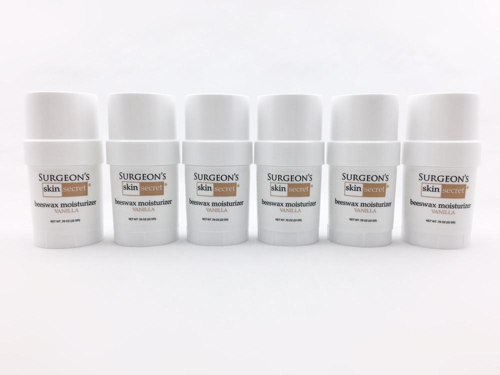 Surgeon's Skin Secret™ Beeswax Moisturizer .78 oz Twist-up Stick (6 Pack) - Vanilla