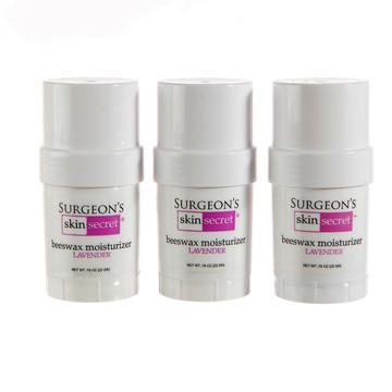 Surgeon's Skin Secret™ Beeswax Moisturizer  .78oz. Twist-up Stick (3 Pack) - Lavender