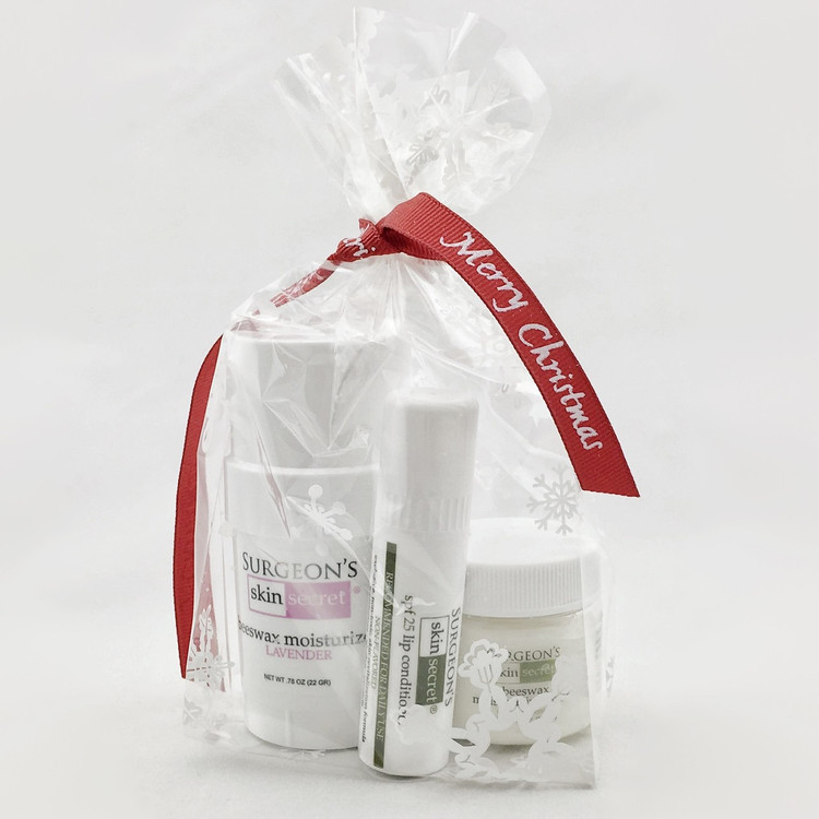 Great stocking gift of 3 of our most popular items, a .30 ounce SPF25 Lip Balm, a .78 ounce twist-up stick of Surgeon's Skin Secret and a 1 ounce jar of 25% Beeswax cream.