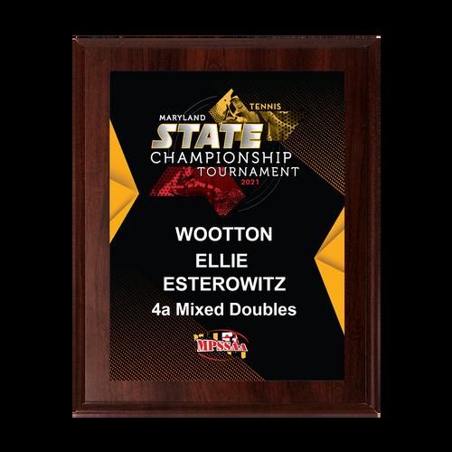 2021 MPSSAA Tennis State Championship 8x10 Plaque