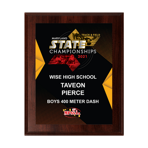 2021 MPSSAA Track & Field State Championships 8x10 Plaque