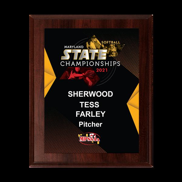2021 MPSSAA Softball State Championship 8x10 Plaque