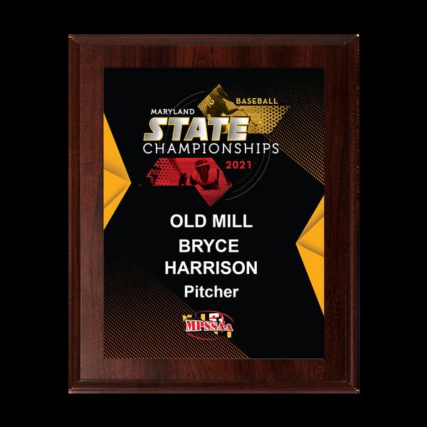 2021 MPSSAA Baseball State Championship 8x10 Plaque