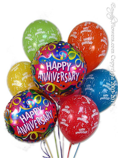 Two happy anniversary foil balloons with six printed happy anniversary latex balloons available for same-day delivery by Everyday Flowers serving Orange County, CA