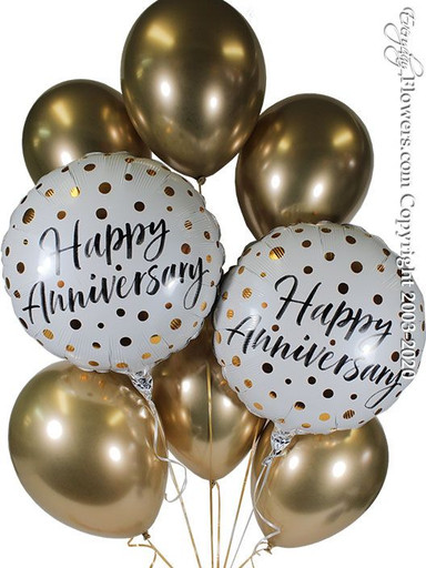 Two happy anniversary foil balloons wiz gold darts and six chrome gold latex balloons available for same-day delivery in orange county CA Hand delivered by everyday flowers
