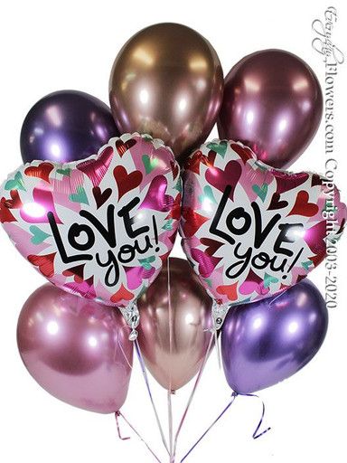 Displaying Bouquet teachers to heart shaped I love you converging hearts and six chrome latex balloons by Qualatex In purple Mauve and rose gold delivery is available by every day flowers serving Orange County CA