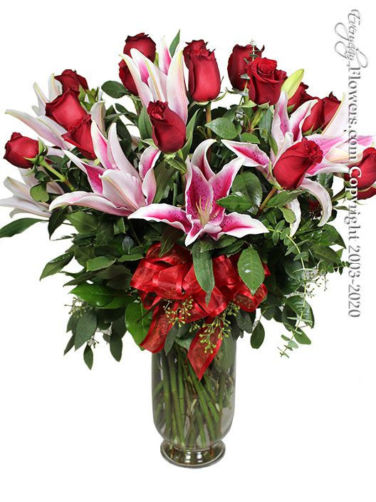 Two Dozen Valentines Roses And Lilies