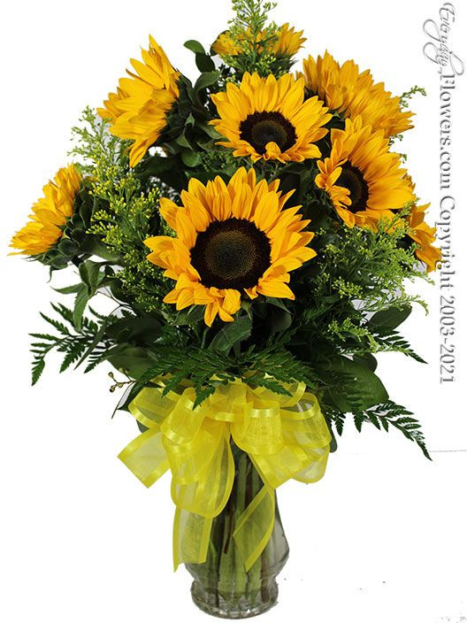 12 yellow sunflowers arranged in a glass vase available for same day delivery in parts of Orange County, CA.
