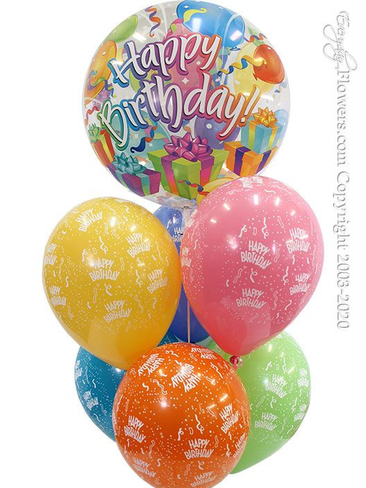A birthday surprise bubble balloon with six printed happy birthday latex balloons. Balloons are filled with helium and treated with hi-float.