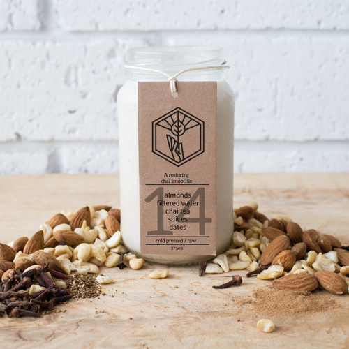 This creamy almond milk, is a chai lovers dream! It smells amazing and can be gently warmed for a nourishing night cap.
