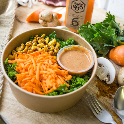 One of our most popular salads, The Thai Cashew, combines shredded carrot and seasoned kale and coriander for a flavoursome meal. The sauce is a sweet, sour with a hint of chilli, and we top this salad with the best dehydrated curry cashews!