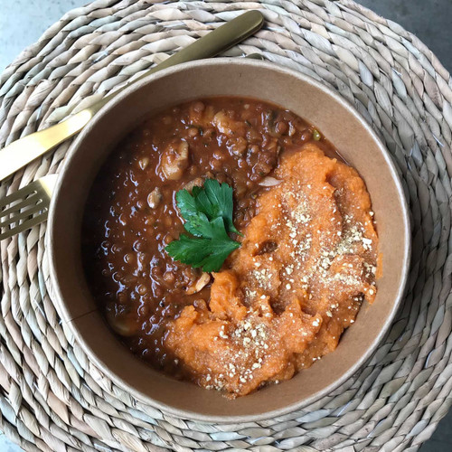 MUSHROOM AND LENTIL STEW WITH SWEET POTATO MASH