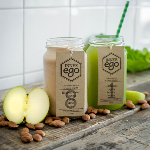 Cold Pressed Juices available in the nourishment pack #8 Almond, Cacao, Dates, Cinnamon, Nutmeg, Filtered Water and Sea Salt. #1 - Cucumber, Celery, Lettuce & Lemon