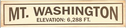 Mt. Washington Elevation Wooden Sign