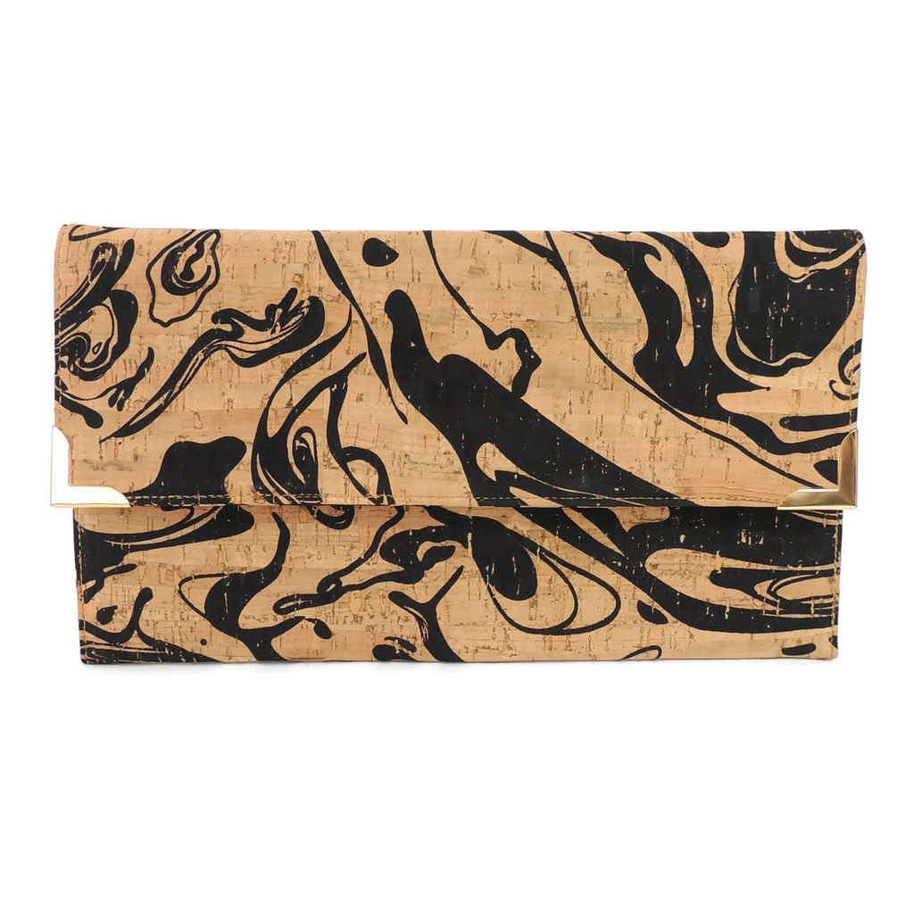 Folio Clutch in Black Ink Cork