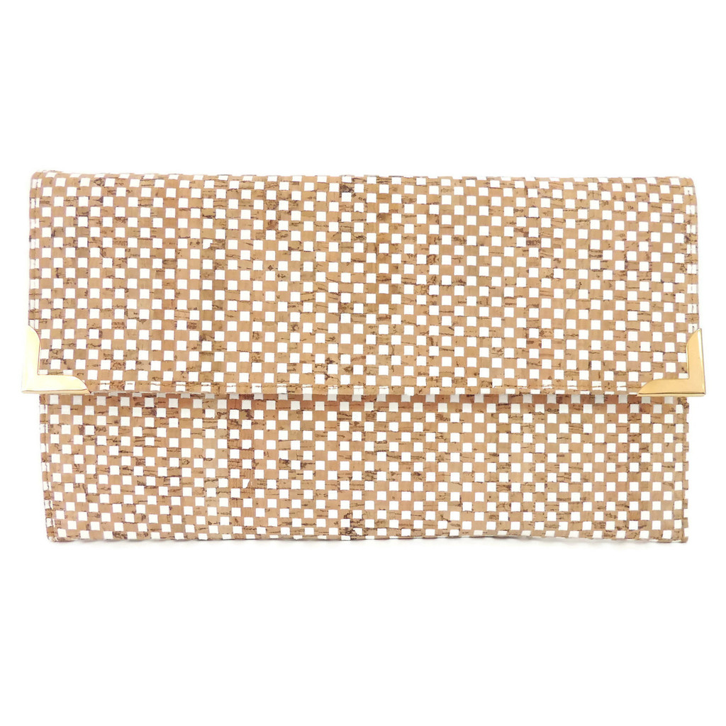 Folio Clutch in White Check Cork