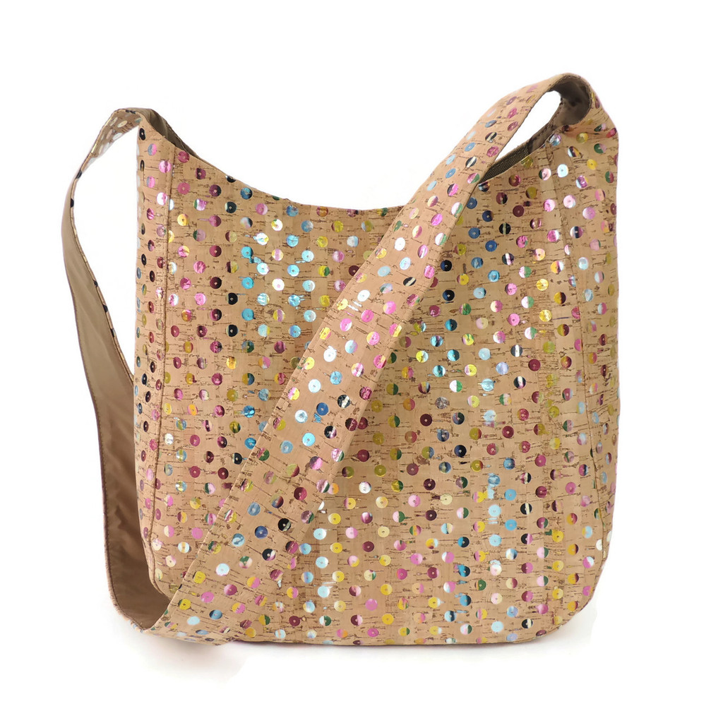 Sling Bag in Sequin Cork