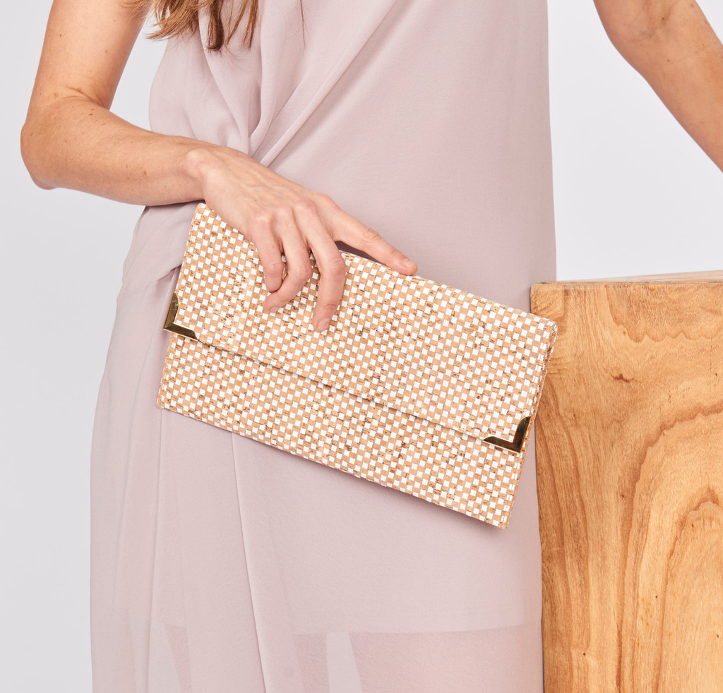 Folio Clutch in White Ink Cork