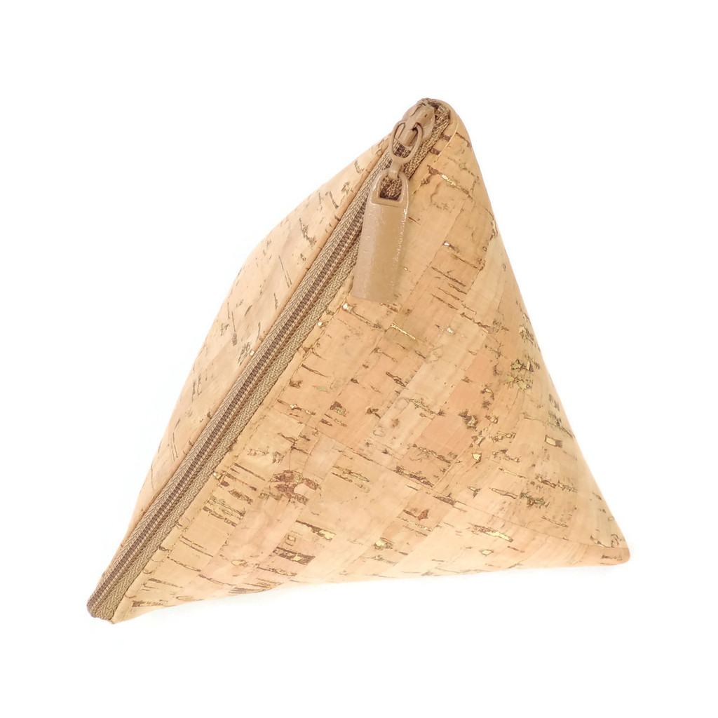 Triangle Pouch in Cork Dash Gold