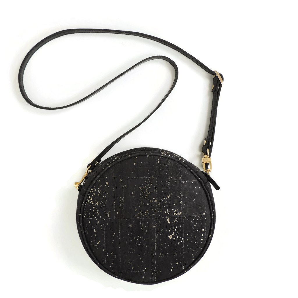 Circle Purse in Black and Gold Cork