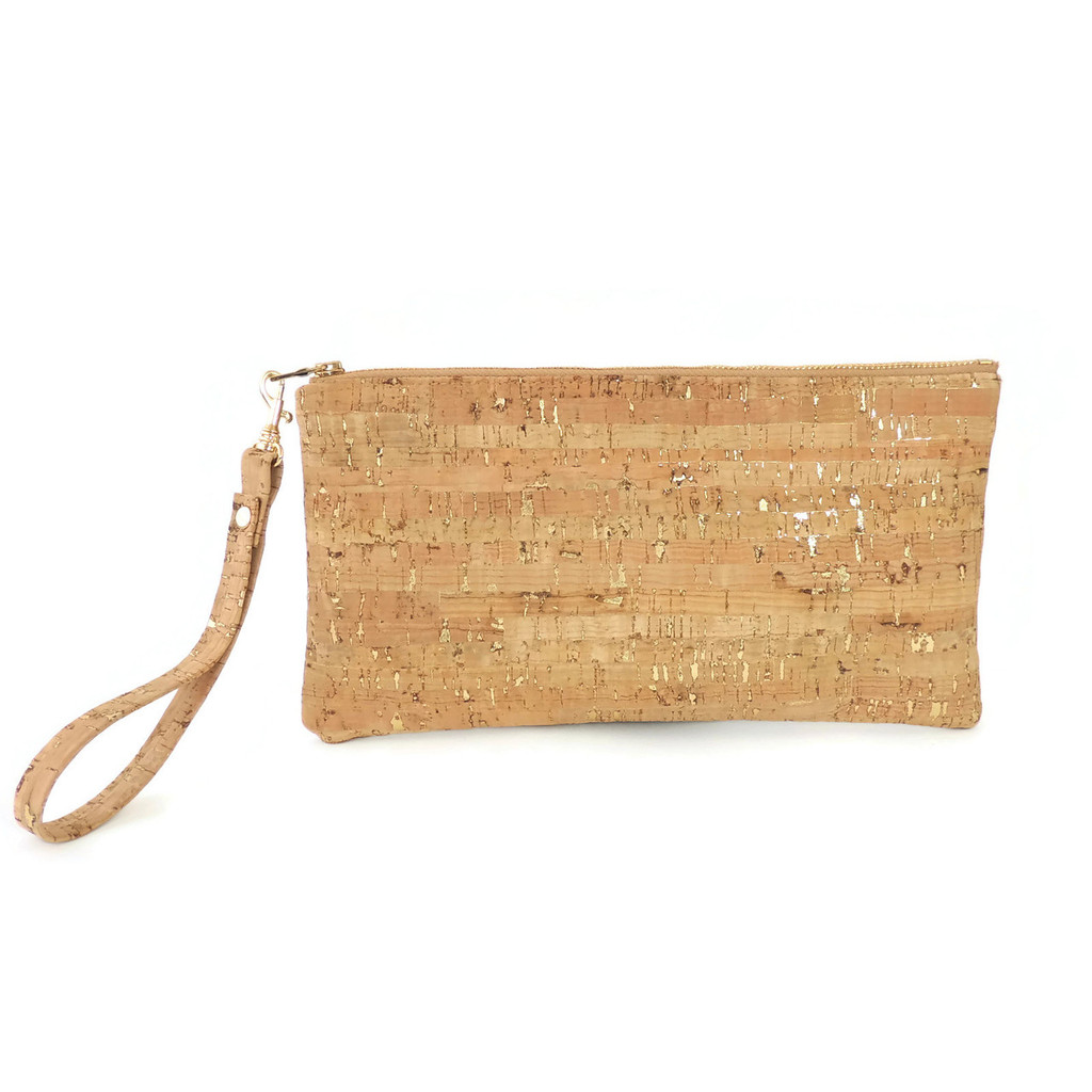 Cork Clutch in Cork Dash Gold