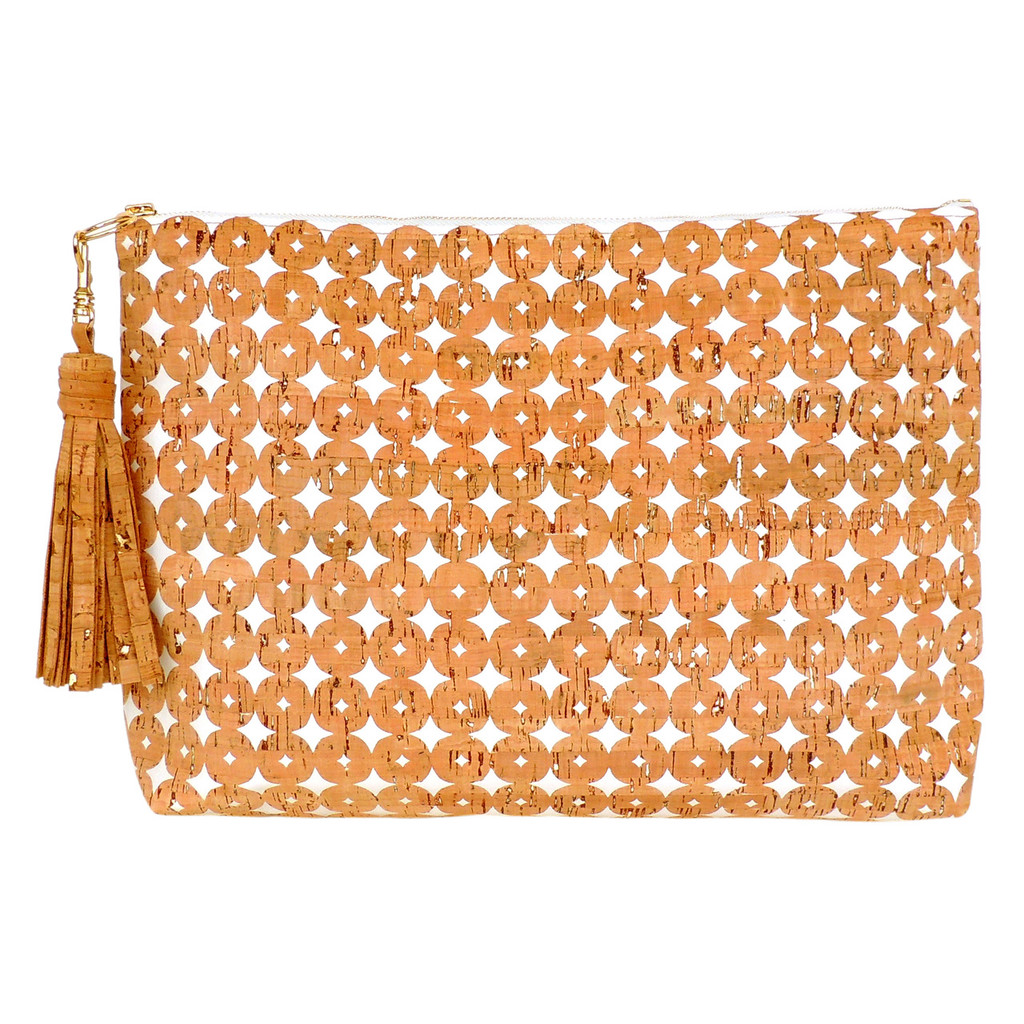 Carryall Clutch in Cork Dots- with tassel (sold separately)