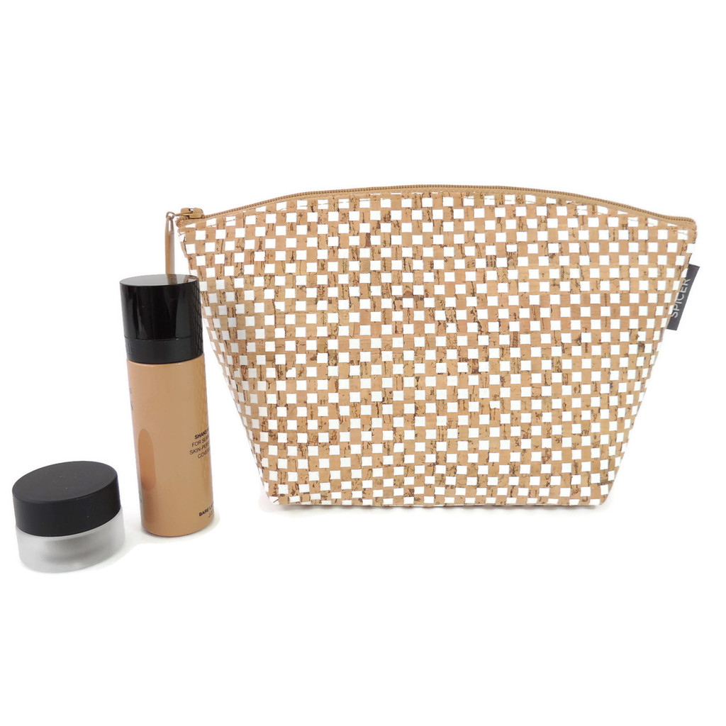Small Standing Pouch in White Dot Cork