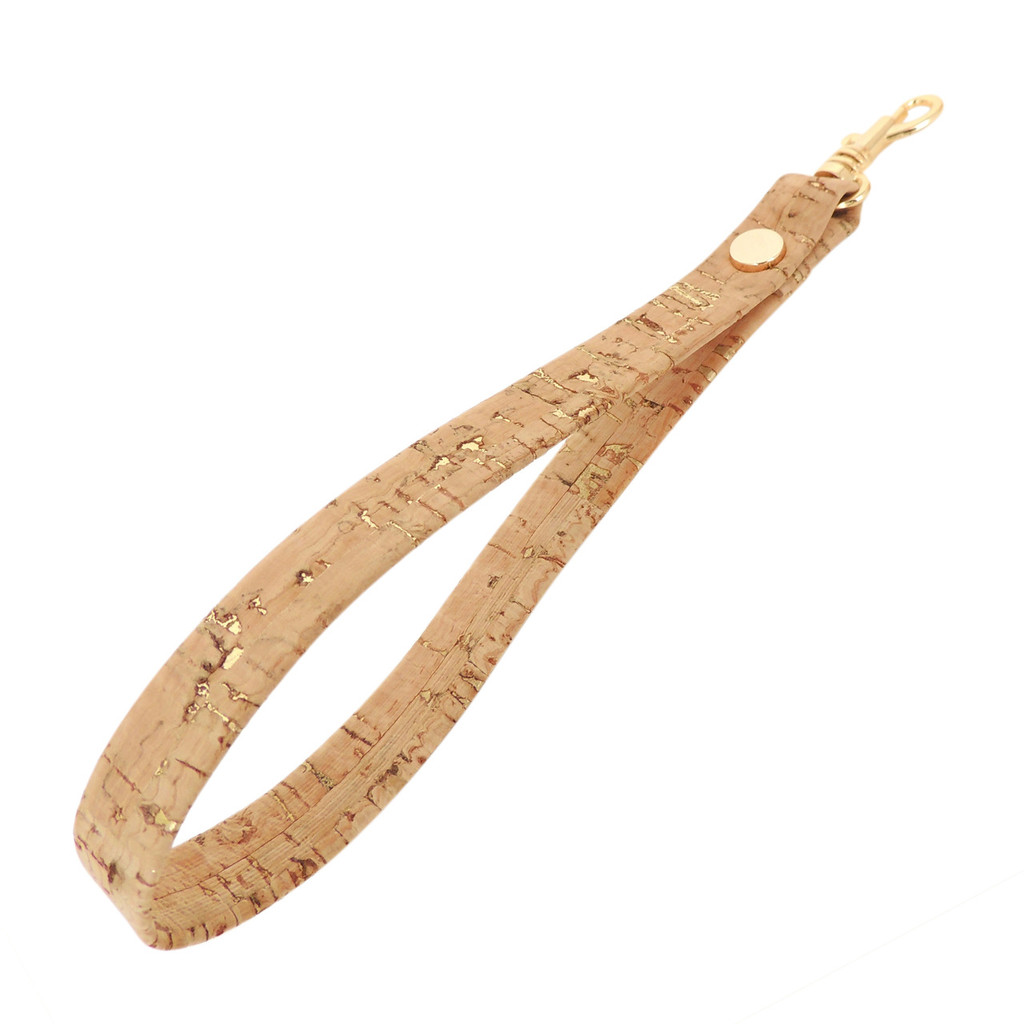 Cork dash gold wrist strap