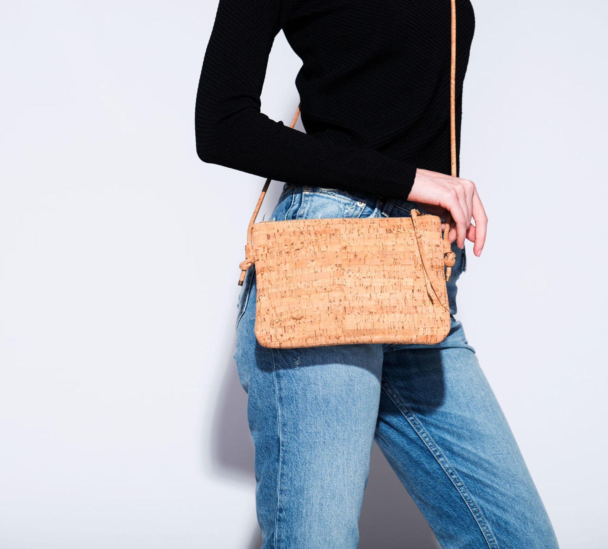 Cork Strap Crossbody Purse in Geo Cork