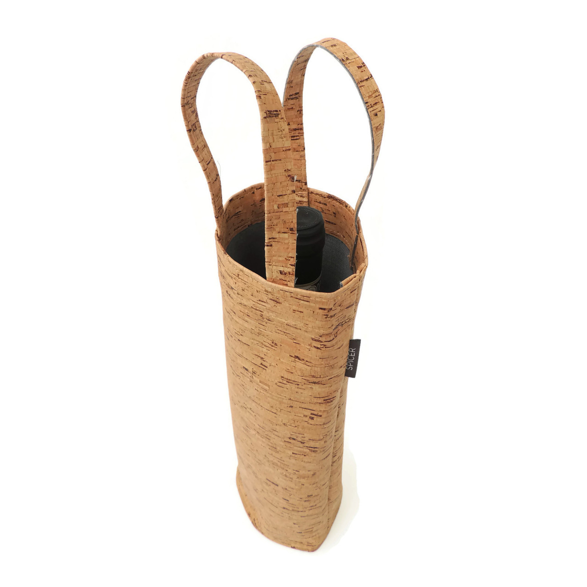 Wine Tote in Cork Thin Lines