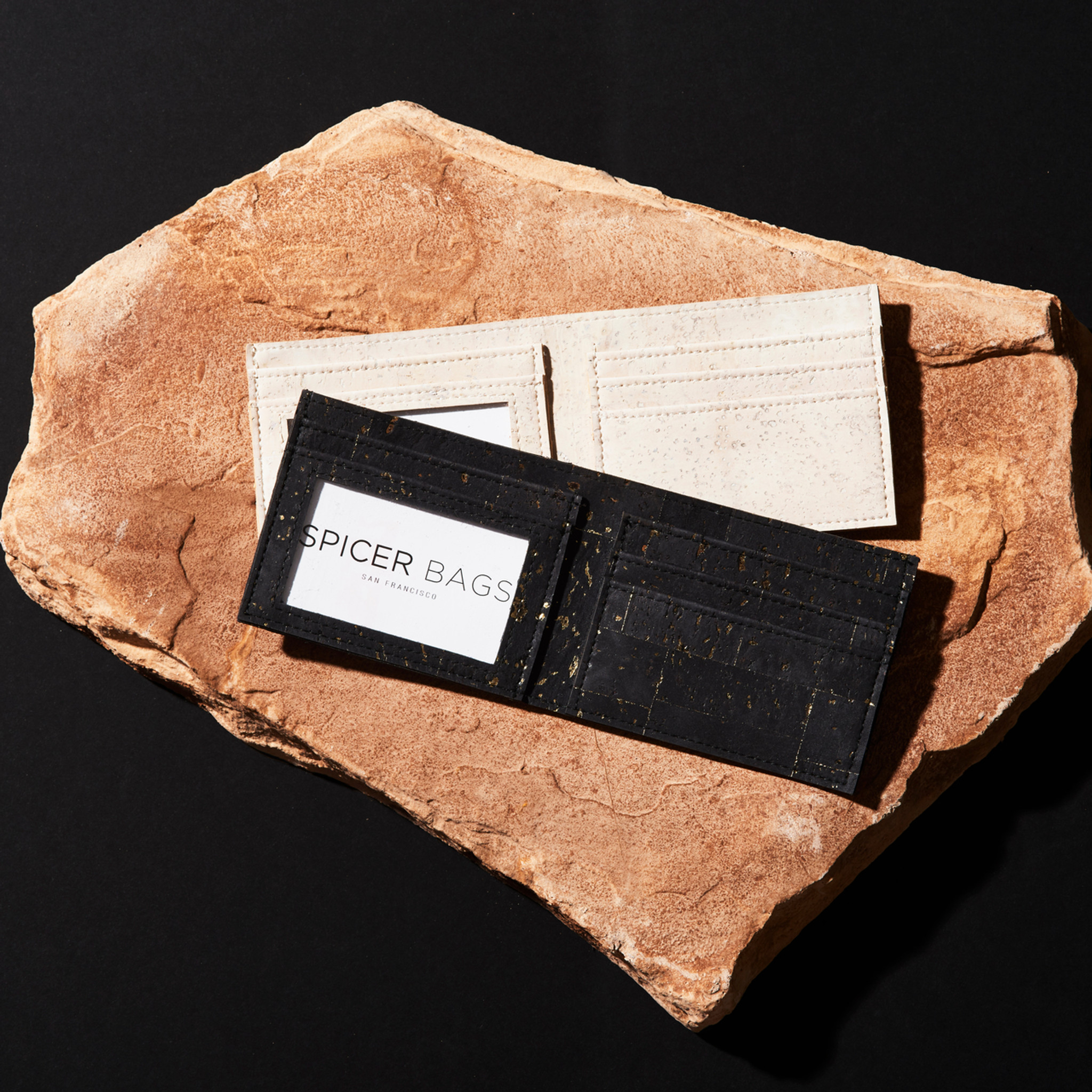 Bifold Wallet in Black and Gold Cork