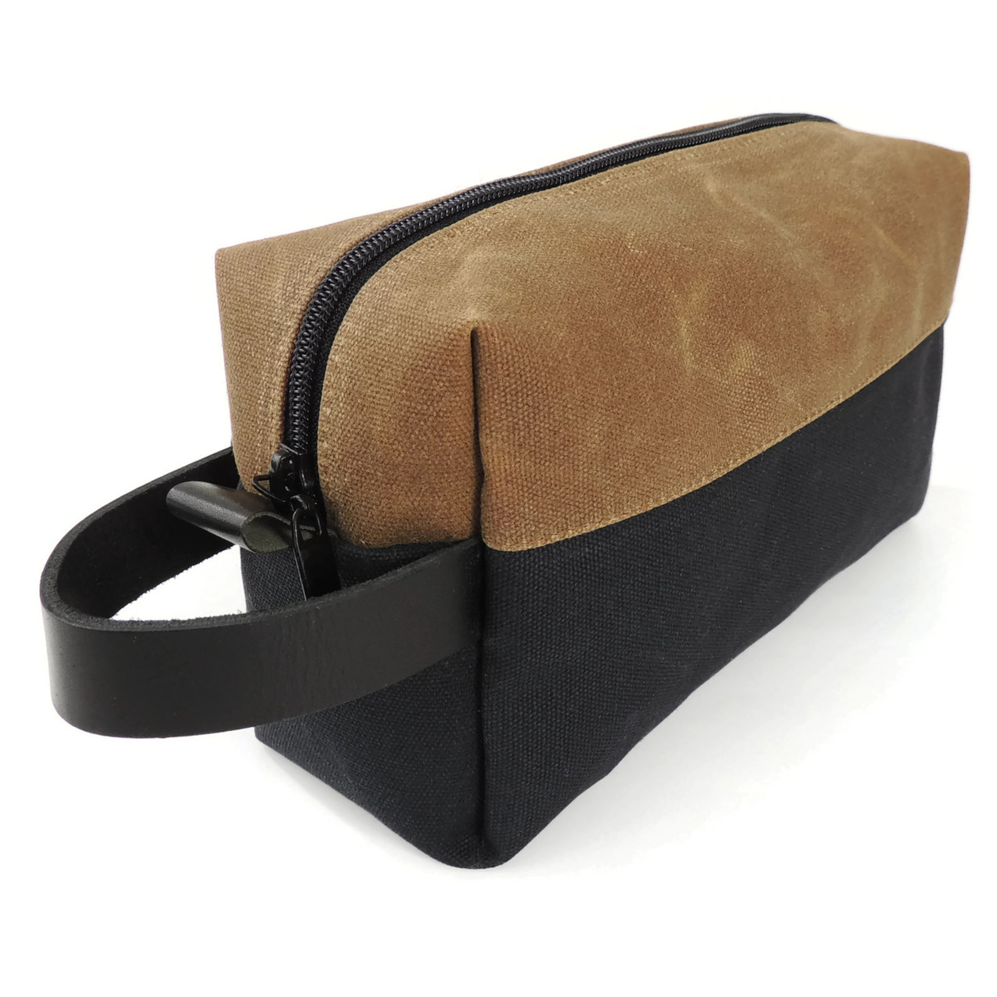 Dopp Kit in Black and Brown Waxed Canva