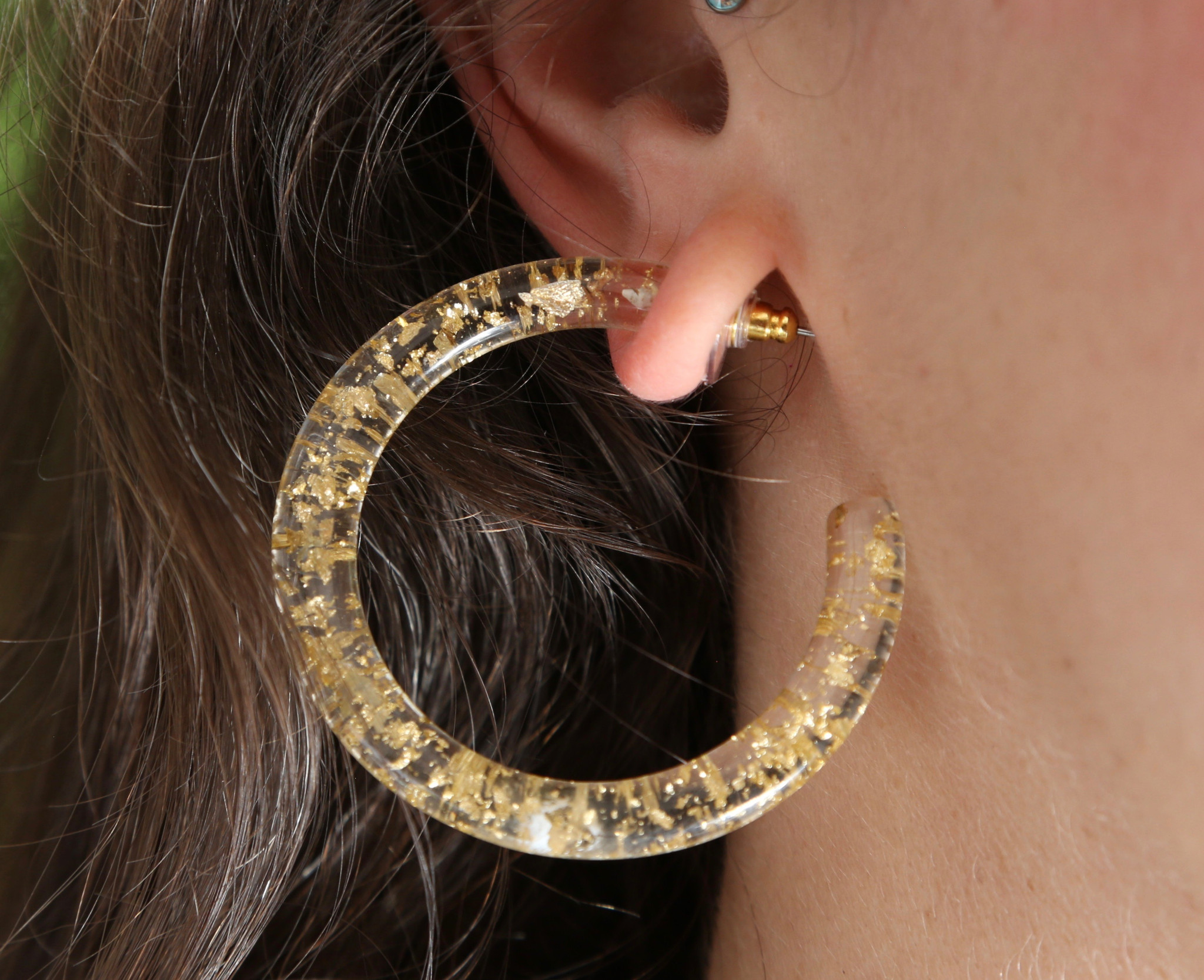 Sparkly Gold Resin Hoops