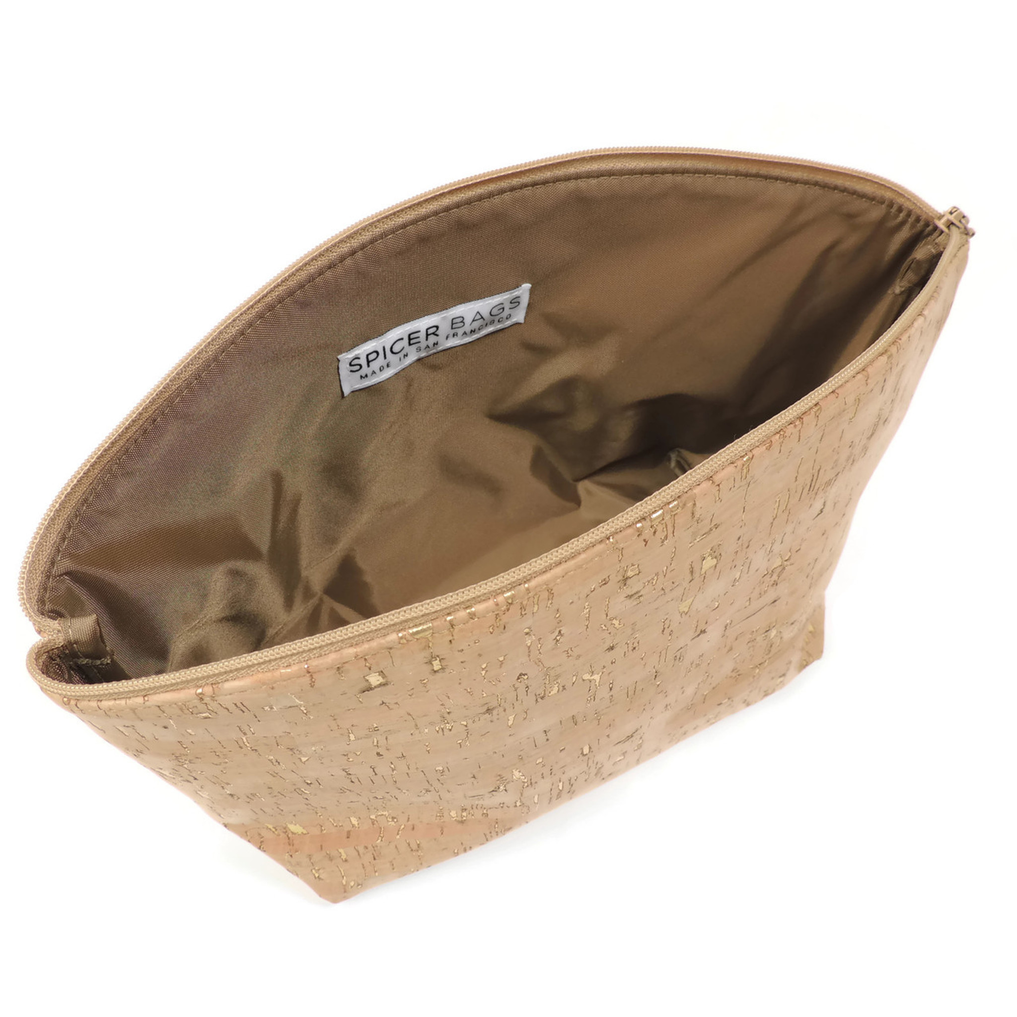 Large Standing Pouch in White Dot Cork