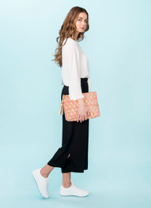 Carryall Clutch in Pink  Dandelion Cork